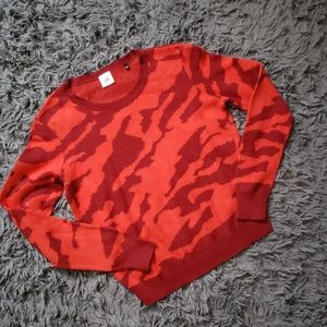 CAbi red and maroon camo sweater